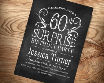 Surprise 60th Birthday Invitation / Any Age / Digital Printable Invitation / Customized