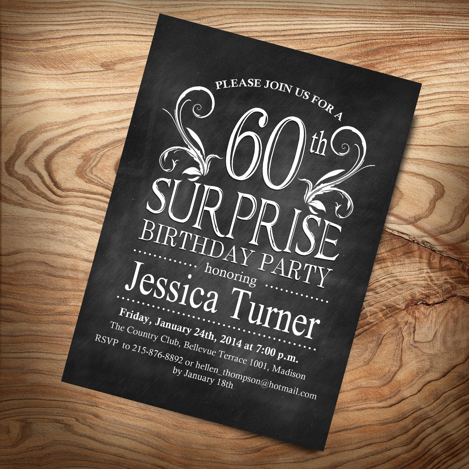 Surprise 60th Birthday Invitation / Any Age / Digital