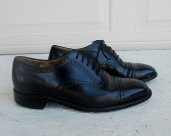 Vintage Men's Black Leather Wingtip Oxford Dress Shoes Charles Tyrwhitt England Size 8 FREE SHIPPING