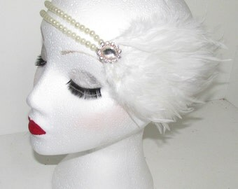White Feather & Pearl Diamante Flapper Headpiece Headband Great Gatsby 1920s h61