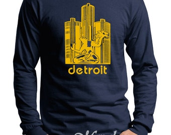 Michigan Wolverines Spirit of Detroit Screen Print Long Sleeve Shirt Navy Shirt, Sizes S-5XL