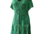 SALE  women's crochet dress  green dress boho style  plus size dress crochet handmade crochet dresses for women cotton  ready to go