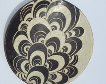 Ceramic carved round plate or platter sgraffito white and chocolate brown hand made