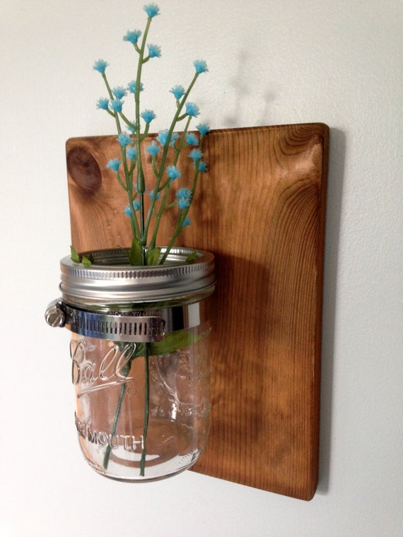 Jar Wall Sconces : Mason Jar Wall Sconce by TrimsOfNature on Etsy
