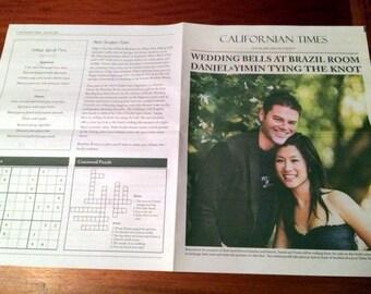 Personalized Newspaper Style Wedding Program
