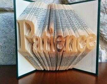 Patience - Folded Book Art - Fully Customizable, love is patient