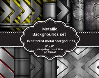 INSTANT DOWNLOAD - Collection of 10 digital metal design backgrounds