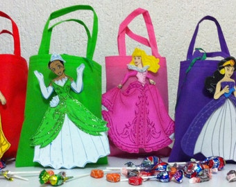 Disney Princess birthday party Bags / treat bags -- Foam Characters & Fabric Bags or Paper Bags