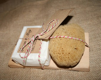 Soap Pamper Set, containing Soap & Natural Sea Sponge