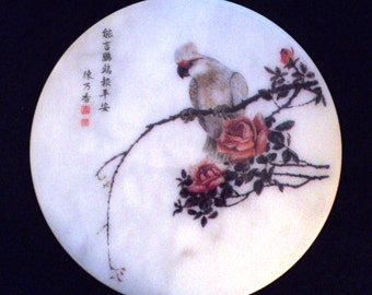 Chinese Artist, Transfer Print, Marble Plate, Chinese Bird Paintings, Carrara white marble, Parrot, Feng Shui, Good Luck, Simple Elegance