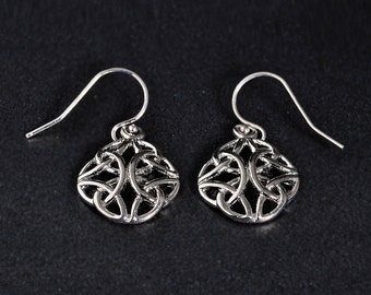 Trinity earrings, silver trinity earrings, claddagh trinity Irish earrings, celtic knot earrings, triquetra earrings, celtic trinity earring