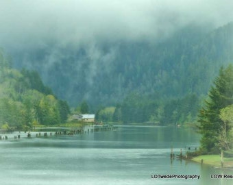 Nature Photography, River Photograph, Misty morning, Dreamy Nature Photo, Landscape, Green, Trees, River, Calm, Peaceful, Fine Art Print