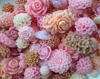 Pink Mix Flower Cabochons Grab Bag 25pc Roses Mums (DESTASH SALE)