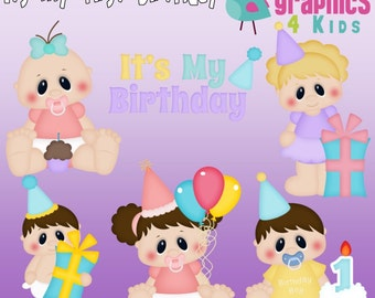 Its my first birthday Digital Clipart - Clip art for scrapbooking, party invitations - Instant Download Clipart Commercial Use