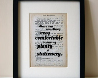 "Great Expectations - Book Quote Print - Birthday Gift - Office Decor - ""There was something very comfortable..."""