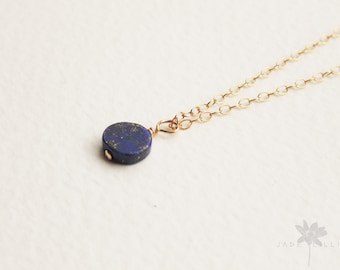 Blue lapis lazuli gemstone small pendant charm 14ct gold filled chain necklace