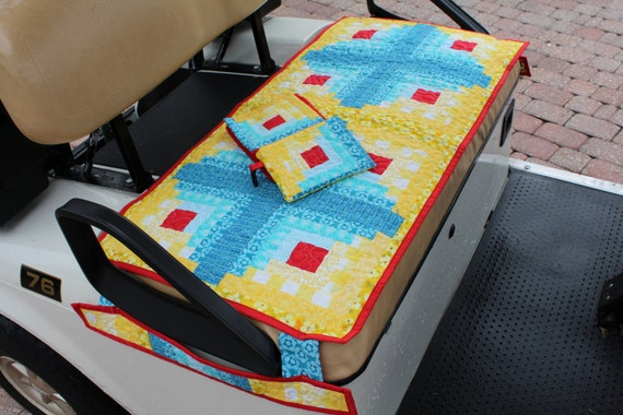 items similar to quilted golf cart seat cover plus golf towel ditty bag on etsy. Black Bedroom Furniture Sets. Home Design Ideas