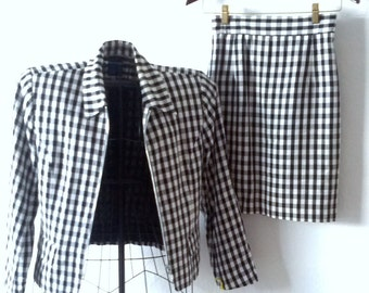 1970- 80's Black and White Checkered Suit