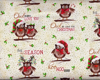 Cute Christmas Owl Curtain Valance