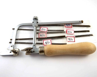Jewellers saw adjustable type saws includes 144 mixed blades from 1/0 to 6/0
