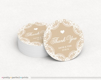 Wedding Thank You Round Sticker Label -  2in or 3in Circle Sticker with Burlap and Lace Design