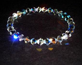 Slip-On Swarovski Crystal Bracelet - Clear AB 6mm Crystals