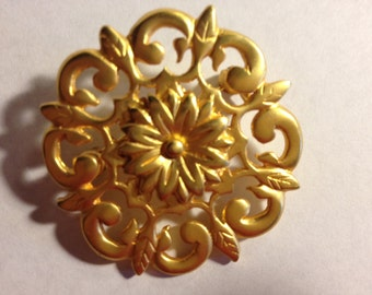 Matte-Finish Gold-Tone Medallion Brooch