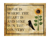 Printable Art, Primitive, Country, Home Is Where Heart Is Country, Printable Quote, Wall Decor, Digital Print, Instant Download (#118)