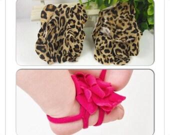 SALE....Leopard barefoot sandal 0-12 months