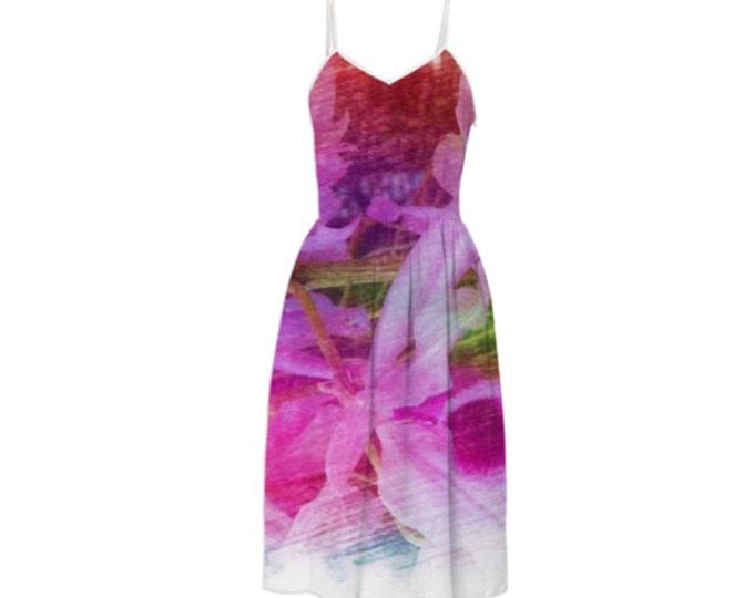 Orchid Fragrance Summer Dress-Party Dress,Long Dress,Day Dress,Sleeveless Sundress,Braces Floral Dress,Sling Magenta Dress,Custom-Made Dress