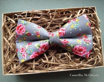 Men's bow tie, boys' bow tie, pink floral on grey bow tie