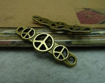 10pcs 11x39mm Antique Bronze Peace Symbol Charms Pendant Connector A