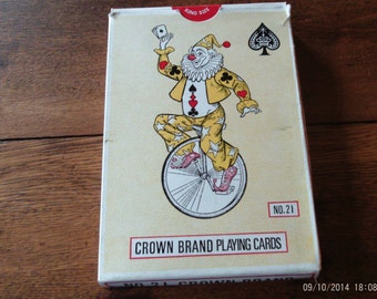 """Vintage 5"""" x 7"""" Crown Brand King Size #21 Clown on Unicycle Playing Cards in Original Box"""