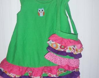 Green Ruffled Dress 3T ready to ship