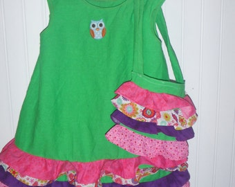 Green Ruffled Dress 3T
