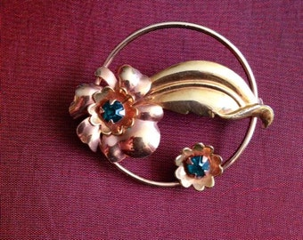 Courtly 1/20 12k  G.F. Rose and Yellow Circle Brooch