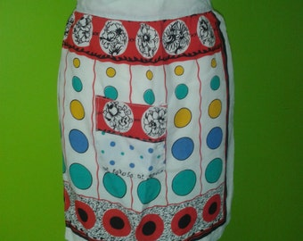 Vintage apron 1950's Housewife half apron with pocket