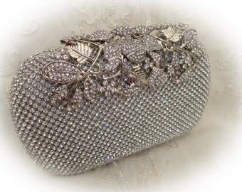 Rhinestone evening clutch bag flower leaf design silver colour with chain vintage style wedding
