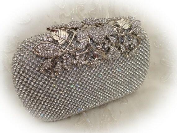 feuille de fleur strass soire pochette design couleur argent avec mariage style vintage chain - Pochette Argente Mariage