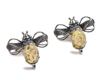 Henryka Yellow Amber & Silver Bumble Bee Earrings