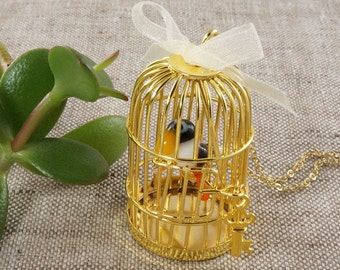 Necklace Cage with Bird, golden #2 (#4437)