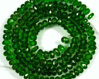 4 mm to 6 mm Natural green CHROME DIOPSIDE  (8 inch Or 16 inch strand) AAA roundel beads faceted gemstone...