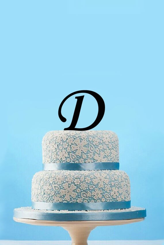 Cake Images With Letter S : Monogram initial cake topperCustom initial D wedding