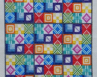 Patchwork Rainbow Suduko Counted Cross Stitch Kit on 18 count Aida in bright rainbow colours using Patchwork motifs