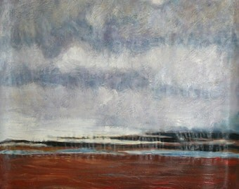 1970's European art large oil painting landscape impressionism signed