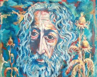 1960 European Surrealist Portrait Oil Painting Signed