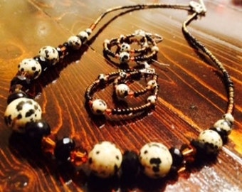 Dalmation and Swavorski Crystal necklace and earrings