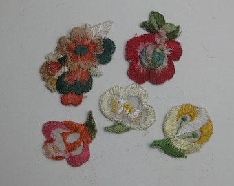 old Silk embroidery paintings - flowers