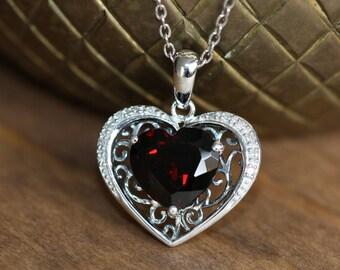 Filigree Diamond and Heart Garnet Necklace in 10k White Gold January Birthstone Necklace Gemstone Dangling Pendant