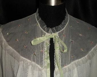 Vintage Trillium Underthings Fancy Nylon Bedjacket M